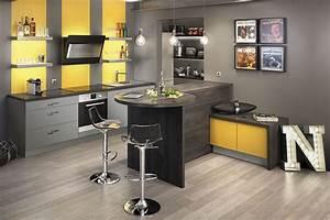 deco cuisine jaune et gris With idee deco cuisine avec deco sur mur gris