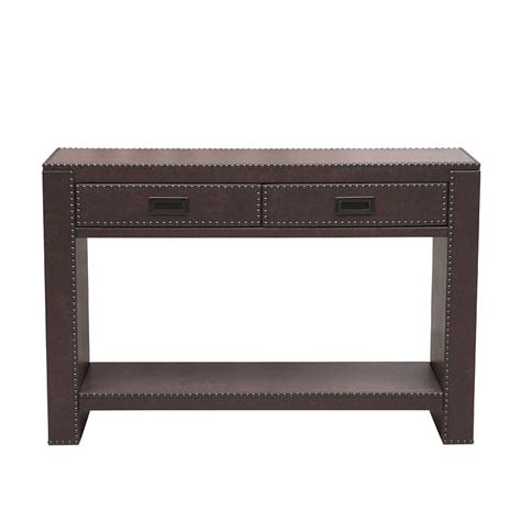 leather console table brown faux leather console table by pulaski furniture