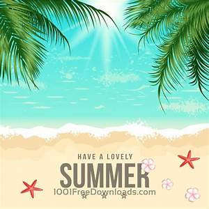 Free Vectors: Summer Beach Vector Illustration Backgrounds