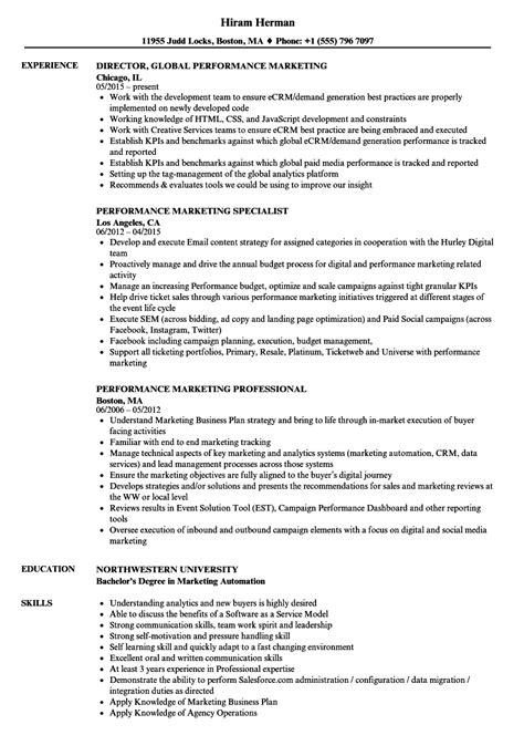 Marketing Resume by Performance Marketing Resume Sles Velvet