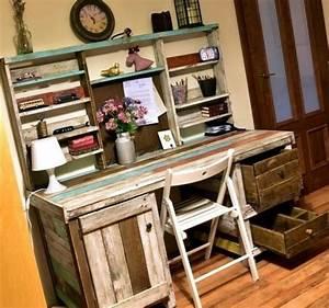 Bureau en palette modeles diy et tutoriel pour le for Meubles style campagne chic 8 fabriquer soi meme des meubles de travail et pour votre