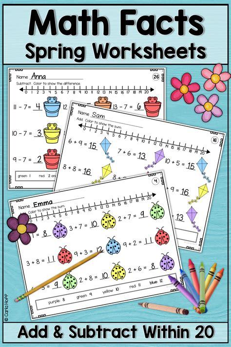 spring addition  subtraction   worksheets