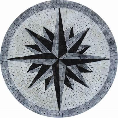Compass Nautical Mosaic Floor Star Round Tile