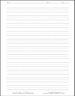 dashed  handwriting practice paper printable worksheet