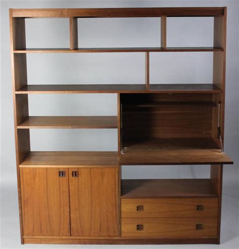 modern room divider bookcase mid century modern teak large bookcase room divider with dro