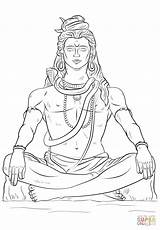 Coloring Shiva Pages Lord Drawing Printable Paper sketch template