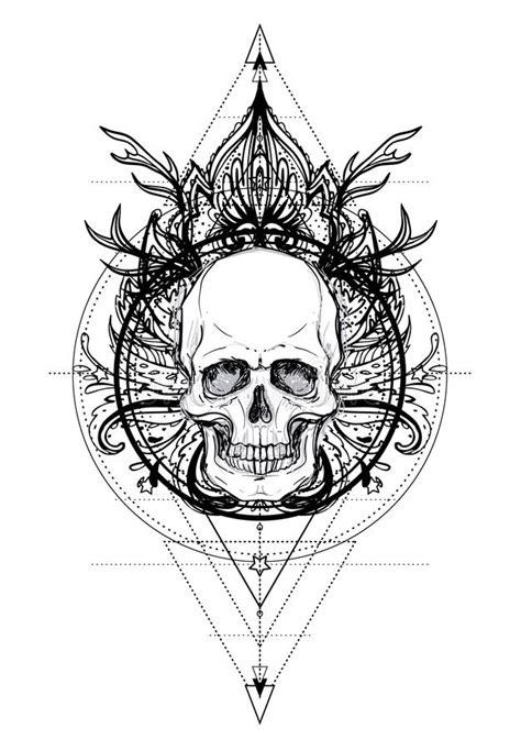 Human Skull And Lotus Over Mandala Inspired Sacred Geometry. Ayurveda Symbol Of Harmony And