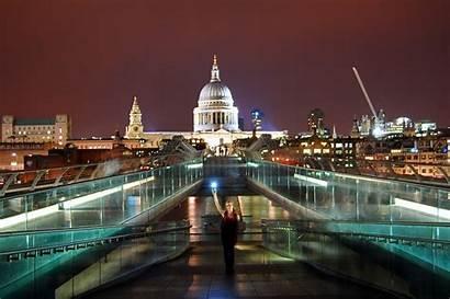 Bridge Millenium London Night St Cathedral Paul