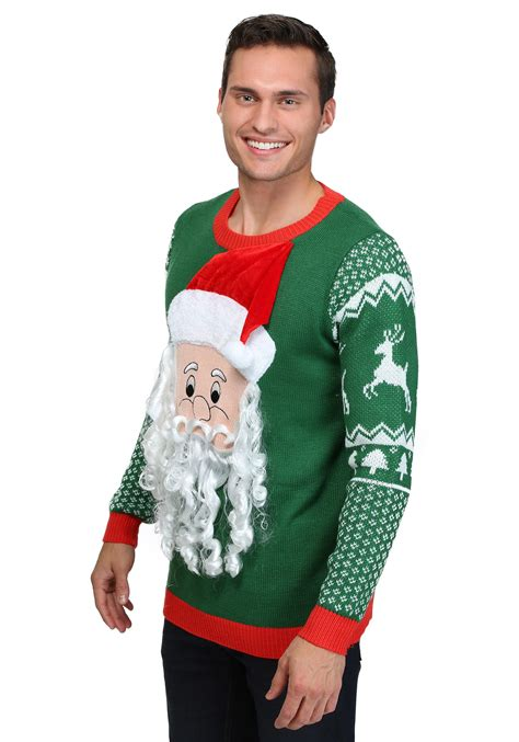 scary christmas sweaters 3d santa face ugly christmas sweater