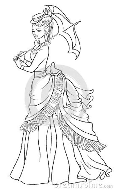 victorian style dressed lady  umbrella  art