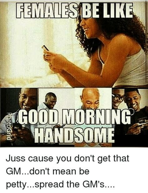Females Be Like Meme - females be like good morning handsome juss cause you don t get that gmdon t mean be pettyspread