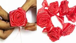 Satin Ribbon Rose Flower Making Step By Step, DIY Roses ...