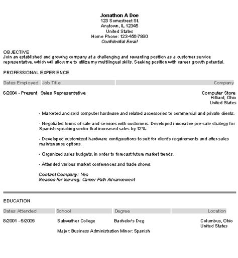 customer service representative resume summary
