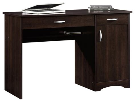 sauder beginnings desk in cinnamon cherry transitional