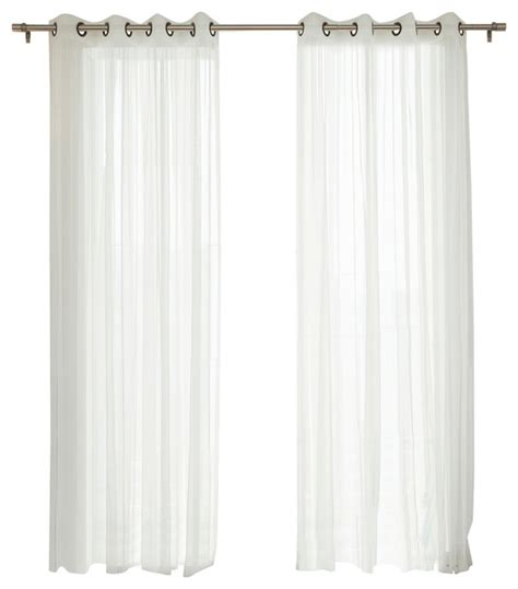 gathered tulle sheer grommet curtain set 84
