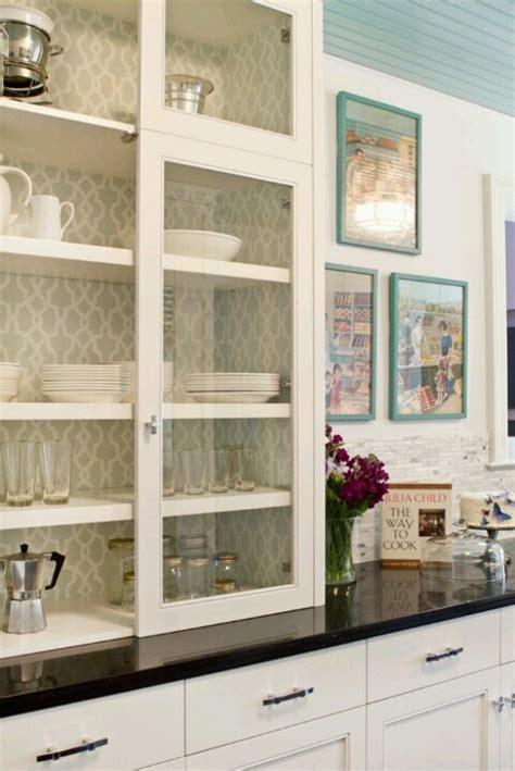 wallpaper inside kitchen cabinets wallpaper inside cabinets