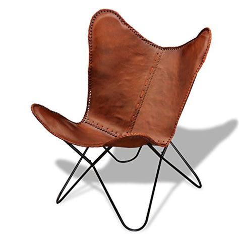 chaise en cuir veritable vidaxl fauteuil chaise papillon en cuir véritable brun
