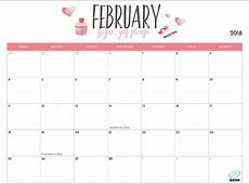 Download Free printable calendar 2018 february month with