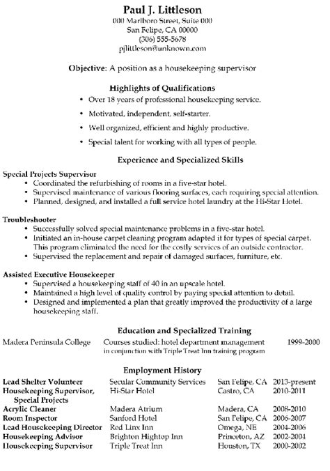 Resume For Hotel Housekeeping by Functional Resume Sle Housekeeping Supervisor Resume