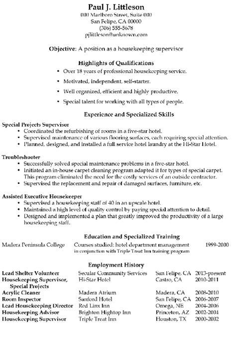 Exles Of Housekeeping Resumes by Functional Resume Sle Housekeeping Supervisor Resume