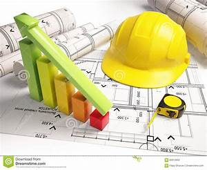 Architectural Drawings With Construction Tools Stock