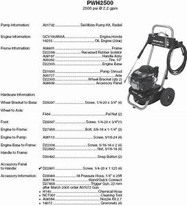 Porter Cable Pressure Washer Pwh2500 Replacement Parts