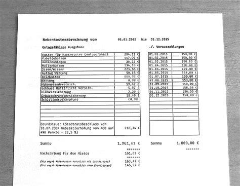 Kaltmiete Berechnen Vermieter by Nebenkostenabrechnung Ii Regelung Der Nebenkosten Im