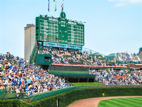time scoreboard  wrigley field home  chicago cubs