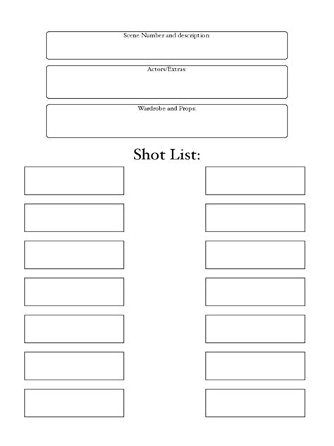 shot list template   templates   word excel