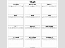 Printable Blank Year Calendar Template Month Editable