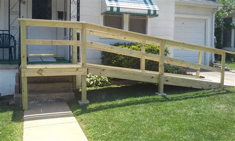 Small Front Porch With Wheelchair Assess Wooden Porch