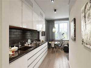 Functional long narrow kitchen ideas designs and cabinets for Kitchen cabinets lowes with long narrow wall art