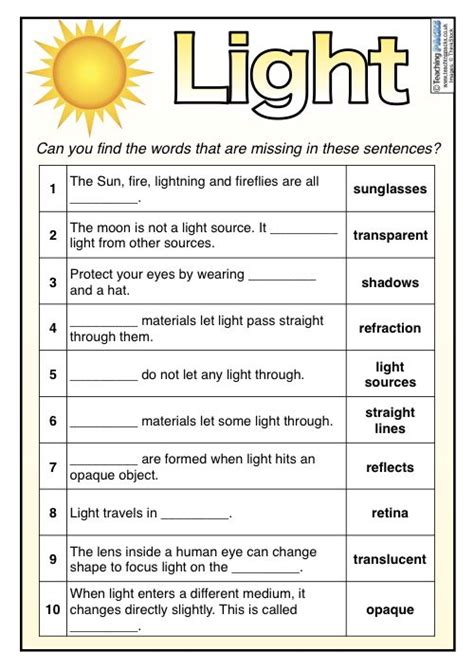 light teaching pack light science science light
