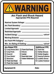 write on warning arc flash and shock hazard label j5551 With arc flash labels nfpa 70e