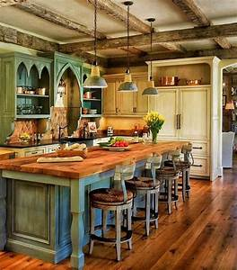 Distressed sage green island using wooden butcher block for Traditional interior paint color ideas
