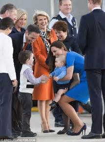 Kate Middleton and Prince George at Airport