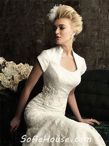 Trumpet mermaid court train short sleeves wedding dress for Wedding dress with collar