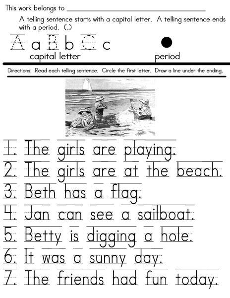 telling sentences worksheet  st  grade lesson