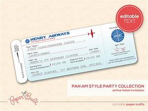 printable airplane birthday party airline ticket by With flight ticket template gift