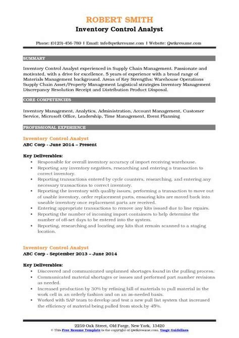 Customer Service Analyst Resume by Inventory Analyst Resume Sles Qwikresume