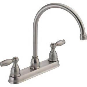 delta kitchen faucet delta foundations 2 handle standard kitchen faucet in stainless 21987lf ss the home depot