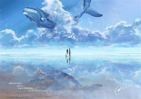 Anime In The Sky Original Anime Sky Animal Whale Blue Water