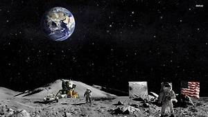 Astronauts On The Moon Wallpaper