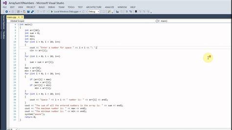 Array Sum (10 Numbers) C++ Code (visual Studio) Youtube