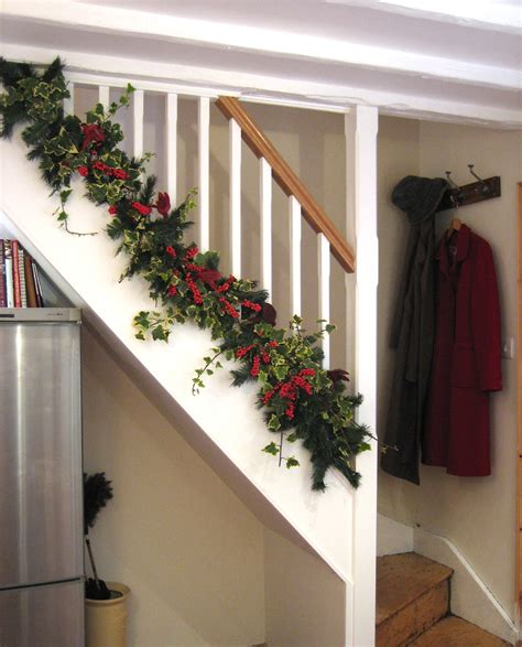 christmas decorations decorating stairs and stair railing