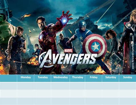 Marvel Avengers Charts   Customizable & Printable   Free!