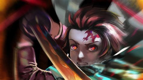 Demon Slayer Tanjiro Kamado With Fire Sword Hd Anime