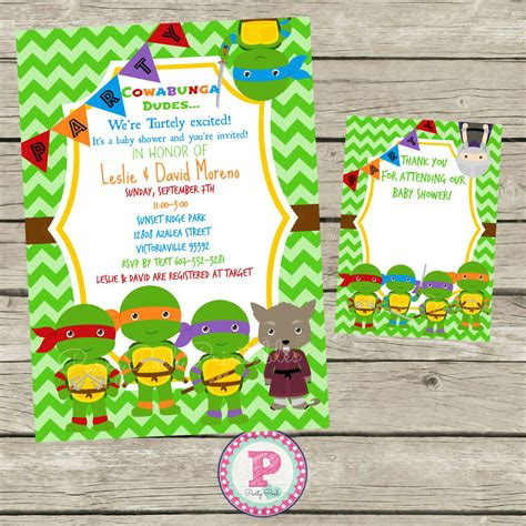 Turtles Baby Shower Theme by Turtle Baby Shower Invitations Thank By