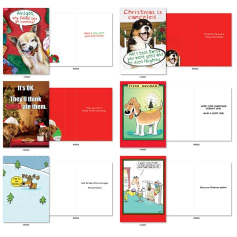 dog holly days humorous merry christmas assorted set