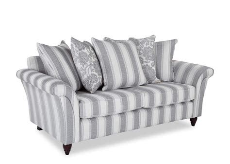 Striped Sofas by Three Seater Striped Grey Fabric Pillowback Sofa